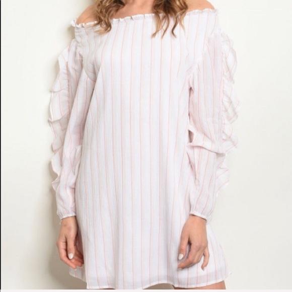 Dresses & Skirts - White Pink Stripes Tunic Dress